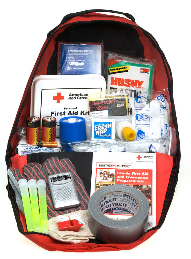 When packing for an adventurous holiday, a well provisioned first aid kit is essential ... photo by CC user Red Cross via www.fema.gov
